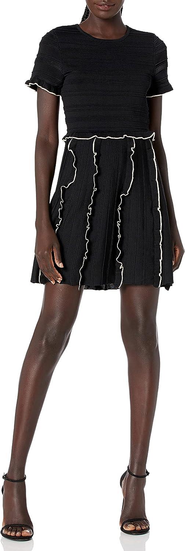Parker Women's Lenny Sleeve Fit to Flare Knit Short Dress