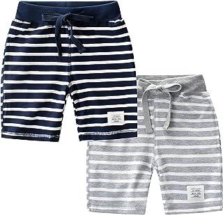 Chic-Chic Lot de 2 Pantacourt Bébé Garçon en Coton Pantalon Short Bermudas avec Cordon de Serrage Ajustable et Bande élast...