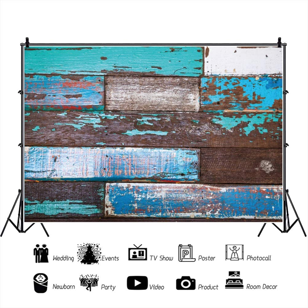 OERJU 15x10ft Vintage Colorful Woodboard Backdrop Retro Shabby Plank Photography Background Newborn Baby Shower Prom Banners Kids Birthday Party Decor Children Adults Portrait Photo Video Props