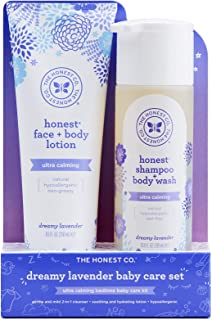 The Honest Company 2-Piece Dreamy Lavender Shampoo + Body Wash (10 Fl. Oz) & Face + Body Lotion (8.5 Fl. Oz.) Bundle Tear ...