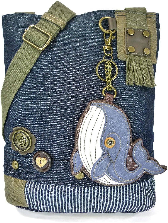 Chala Purse Handbag Denim Canvas Crossbody with Key Chain Tote Nautical Whale
