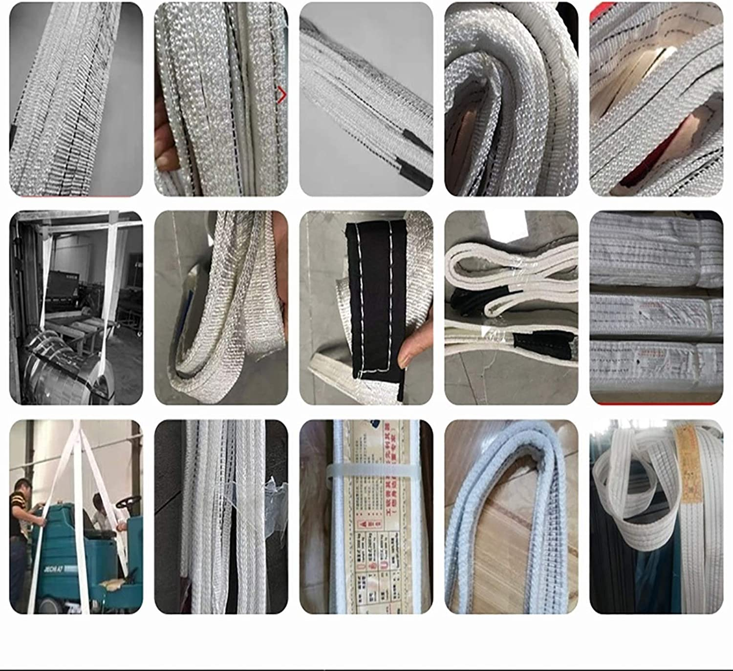 AHXF Lift Sling Straps,Lift Sling Webbing Straps Lifting Sling with Flat Loop Strong Heavy Duty Duplex Polyester Webbing Cargo Lift Sling Strap Strop Max Breaking Strength 2200lbs White