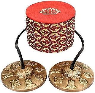 Holy Buddha 8 Symbol Mantra engraved Manjira Tingsha Cymbals-Beautiful Gift Box for Meditation,Pray,Yoga,Sound healing, 7.5cm / 3
