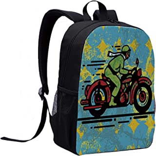 Motorcycle Children's Backpack,A Young Man Vintage Motorbike Grunge Distressed Dirty Featured Funky Art Illustration for Travel,12″L x 5″W x 17″H