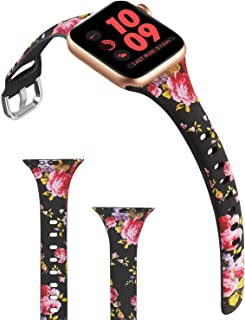 ACBEE Compatible with Apple Watch Band 38mm 40mm 42mm 44mm for Women Small Large, Slim Narrow Floral Bands for Apple Watch Series 5/Series 4/Series 3/Series 2/Series 1 (Pink Rose, 38mm/40mm)