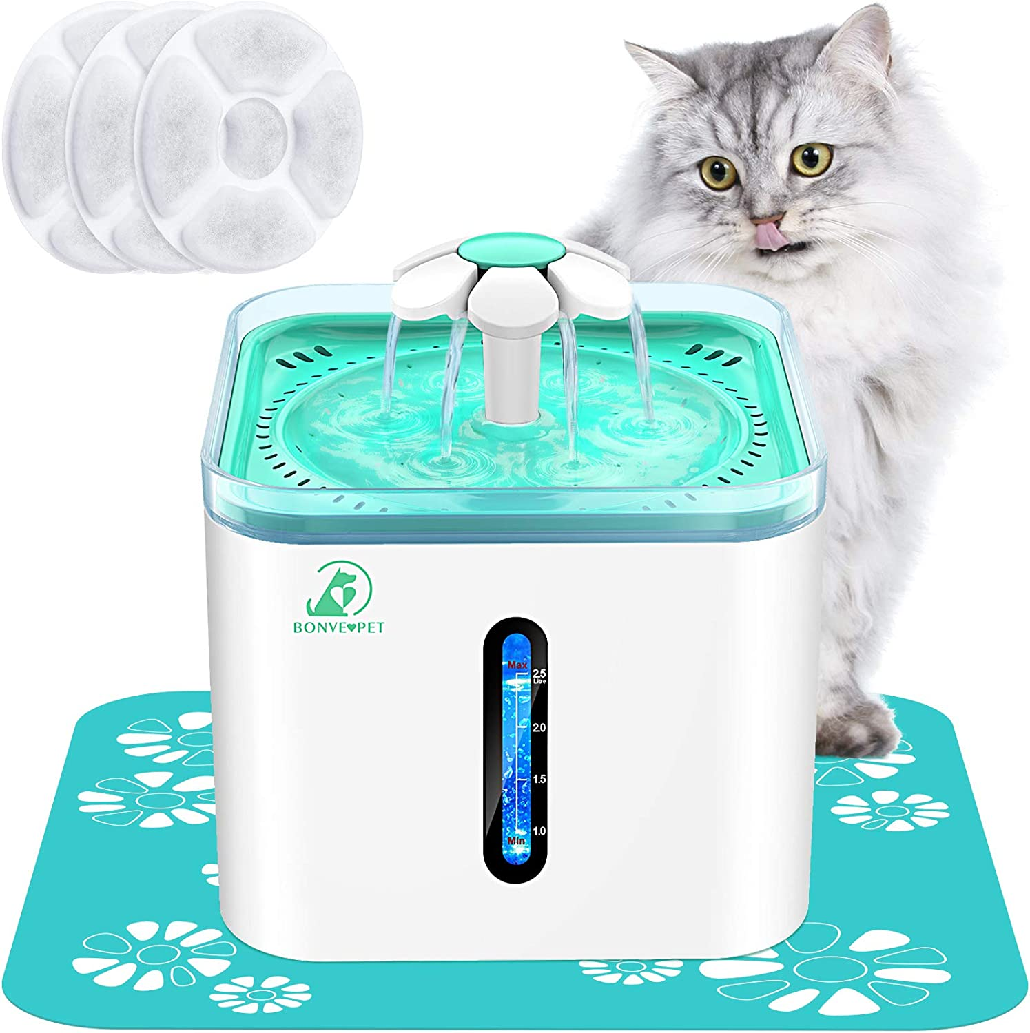 Bonve Pet 2.5L/84oz Cat Water Fountain Automatic Pet Water Fountain Intelligent Pump Led Water Indicator 3 Replacement Filter&1 Silicone No-Slip Mat for Inside Cats Dogs Multiple Pet Water Dispenser