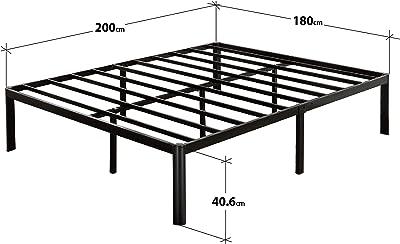 Zinus Cadre de lit à plateforme métallique avec coin arrondi Van 40,6 cm/ Support de matelas/ Pas besoin de sommier/ Lit prêt à l'emploi/ Montage facile/ 180 x 200 cm