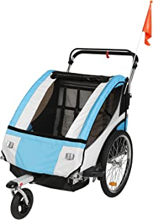 Clevr Elite 3-in-1 Double 2 Seat Bicycle Bike Trailer, Jogger, Stroller for Kids, Foldable for Storage & Carry