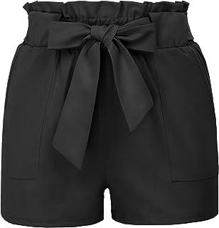 GRACE KARIN Pantaloncini Corti Donna Eleganti Vita Alta Casual con Cintura Elastica con Fiocco Decorato