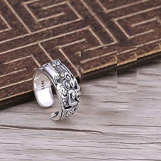 خاتم من الفضة الإسترلينية ذو تفاصيل عالية للرجال والنساء مصنوع من مادة الفضة الاسترلينية S925، مناسب للعديد من المناسبات أ...