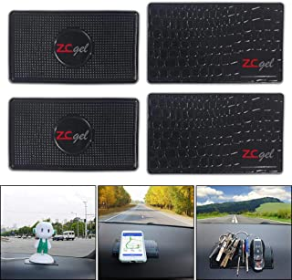 ZC GEL Sticky Gel Pad (4 Pack), Removable and Reusable Universal Non-Slip Dashboard Mat for Cell Phones, Sunglasses, Keys, Coins and More,Black