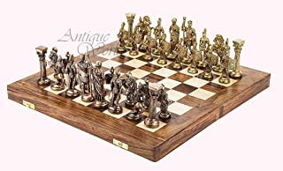Antiques World Collector's Piece Heavy Brass 'Greek-Roman' Themed Chess King Set - Chess Figurines Including Folding Hand Crafted Wooden Chess Board AWUSACB 03