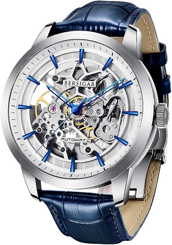Bersigar orologio da uomo automatico con meccanismo di scheletro trasparente BERSIGAR
