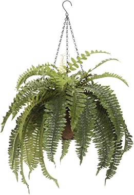 "OakRidge Fully Assembled Artificial Fern Hanging Basket – Indoor/Outdoor Use – 23 ½"" L"