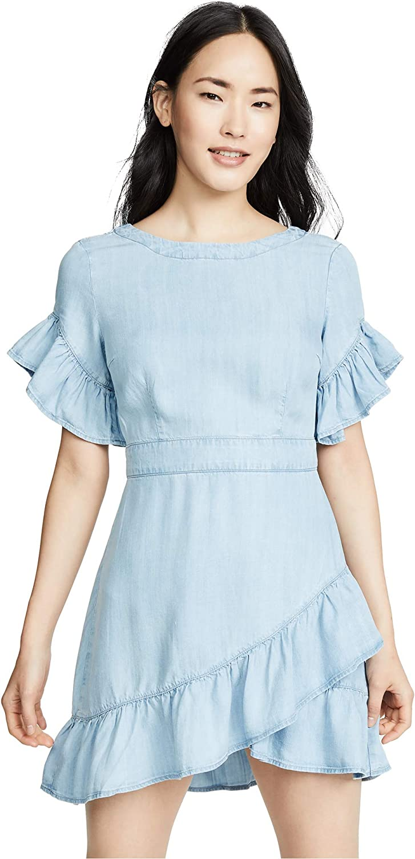 BB DAKOTA Women's Indigo Dreams Tencel Ruffle Dress