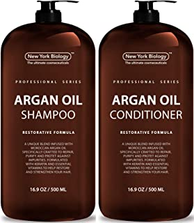 New York Biology Moroccan Argan Oil Shampoo and Conditioner – All Natural – Moisturizing and Volumizing Professional Series Restorative Formula - Infused with Keratin and Sulfate Free - Huge 16 oz