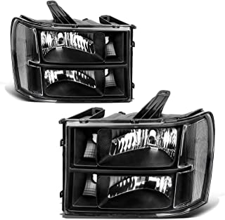 For 2007-2013 GMC Sierra 1500/2007-2014 Sierra 2500HD 3500HD Headlight Assembly Headlamps Replacement Black Housing Clear Lens (Driver and Passenger Side)