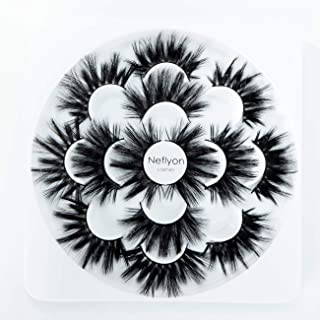 Neflyon Premium Quality 25mm Lashes 100% Handmade Long and soft Mink Eyelash 7 Pair Package 3D/4D/5D/6D