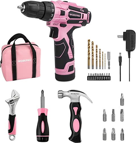 high quality WORKPRO Pink 12V Cordless Drill Driver Set lowest + 3-piece online sale Household Tools Set outlet sale