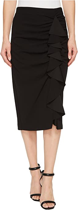 Vince Camuto - Front Ruffle Crepe Ponte Pencil Skirt