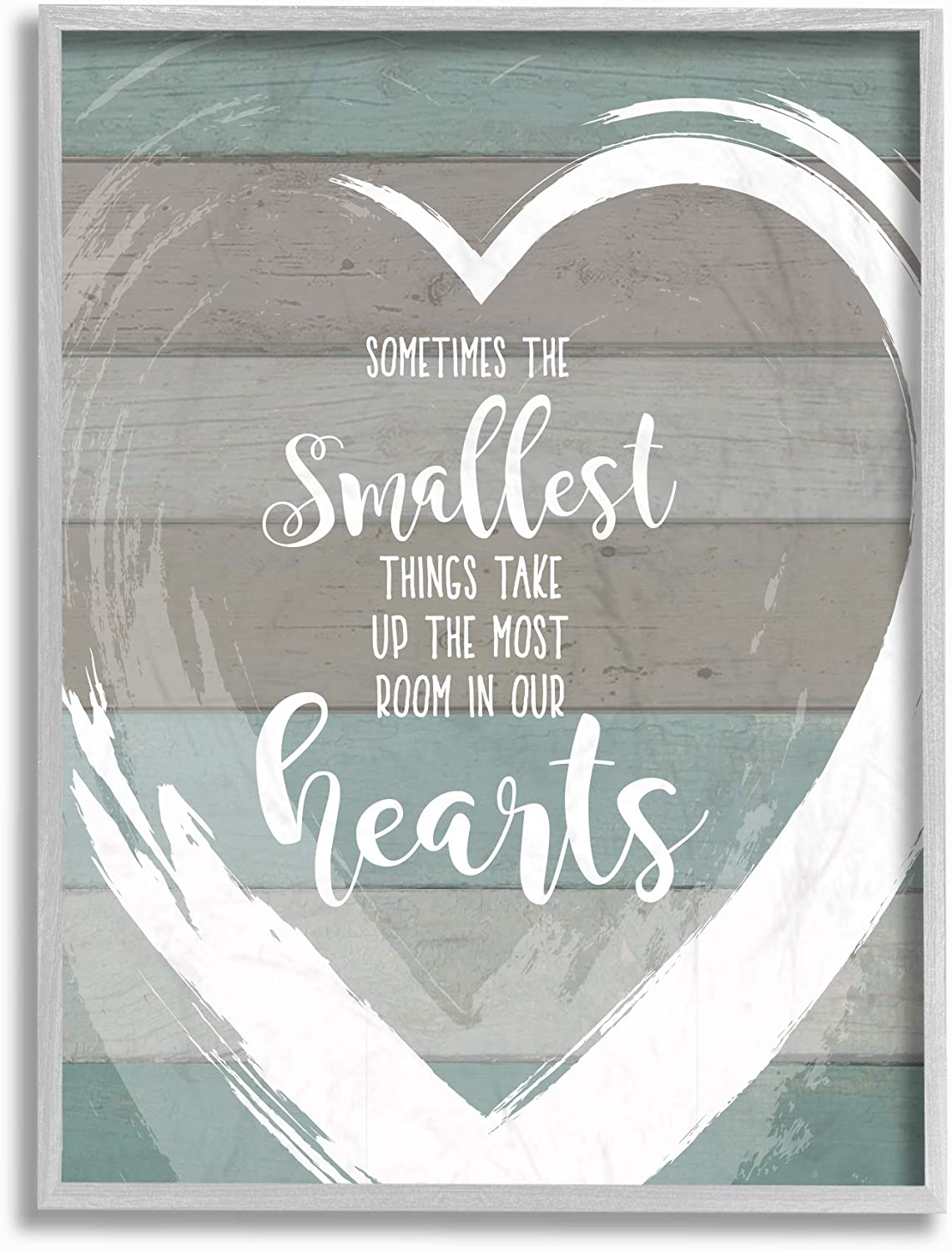 The Stupell Home Decor Smallest Things Most Room in Heart Planked Framed Giclee Texturized Art, Multicolor