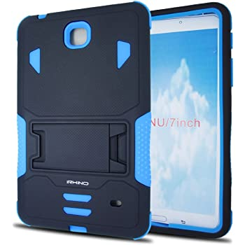 Samsung Galaxy Tab 4 7.0 case, iRhino Black-blue Heavy Duty rugged Hybrid Case cover with Build In Kickstand Protective Case For Samsung galaxy Tab 4 7 inch T230 Tablet