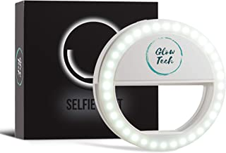 GlowTech Selfie Ring Light Rechargeable with LED, Round Clip on Phone/Tablet/Laptop, 3 Levels Dimmable Brightness Lamp, Best for Both Photos and Videos on iPhone/Android/Note, Natural White Circle