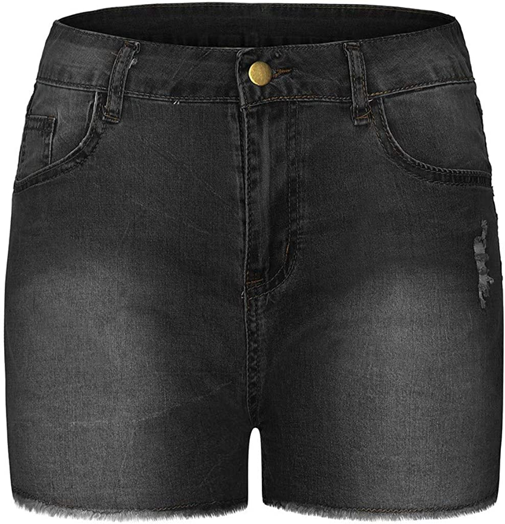 WUAI Ripped Jean Shorts for Women Plus Size High Waisted Stretchy Distressed Denim Jeans Shorts