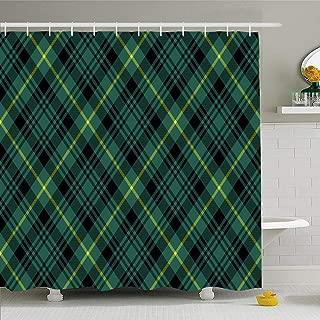 Ahawoso Shower Curtain for Bathroom 60x72 Green Irish Gordon Tartan Check Pattern Beauty Yellow Celtic Abstract Black Cashere Clan Scarf Plaid Waterproof Polyester Fabric Bath Decor Set with Hooks