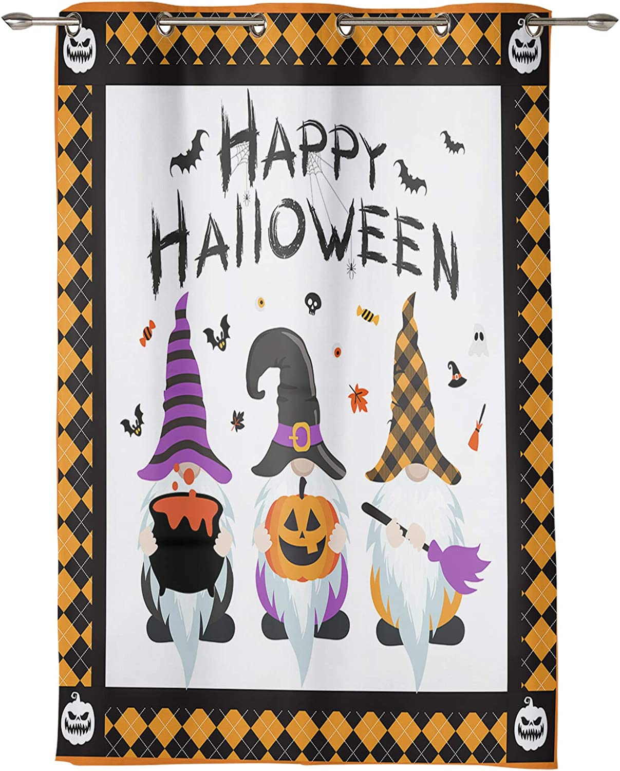 Window Curtain Great interest Panel Gnomes with Hats Printing Ranking TOP2 Witch Decor Durab
