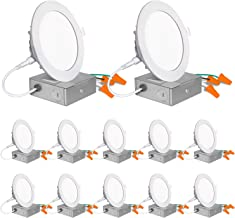 12 Pack 4 Inch Ultra-Thin LED Recessed Ceiling Light with Junction Box, 850lm High Brightness, 10.5W 80W Eqv, 5000K Daylig...