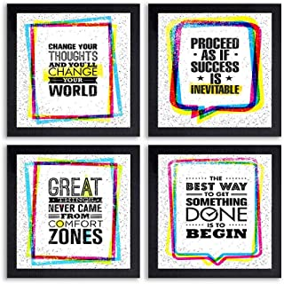 PnF® Set of 4 Motivational QUOTES-034-(28x28inch,Synthetic,Multicolour)