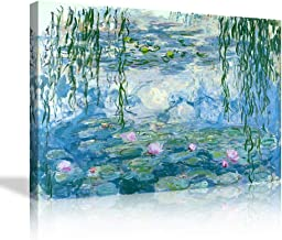 AMEMNY Water Lilies Floral Canvas Prints Wall Art by Claude Monet Famous Paintings Flowers for Kitchen Bedroom Bathroom Ho...
