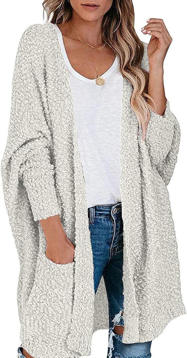 ANTSZONE Women's Oversized Popcorn Soft Knit Batwing Sleeve Open Front Long Cardigan Sweaters with Pockets