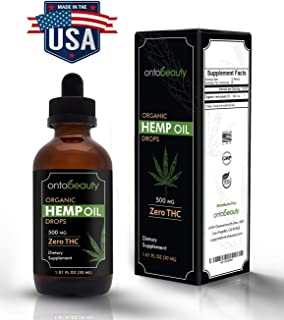 Hemp Oil Drops 500mg - Supports Overall Health, Improves Mood, Skin and Hair - Organic Hemp Oil is Rich in Omega 3, 6, 9 Fatty Acids for Heart and Joint Support - Premium Hemp Seed Oil for Anxiety