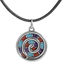 American West Sterling Silver Turquoise, Coral and Sugilite Gemstone Inlay Spiral Black Leather Pendant Necklace 17 Inch
