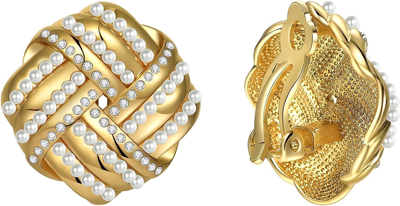 WOWORAMA Gold Clip On Earrings for Women, Vintage Geometric Clip Earrings Non Pierced Earrings for Girls