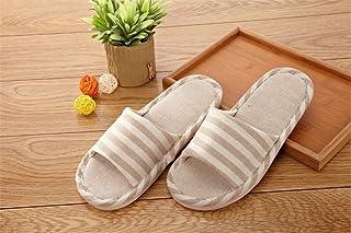 Darin Stripe Linen Slippers Indoor Slippers Cotton Linen Couple Non-slip Soft Home Slippers (44-45, Beige)