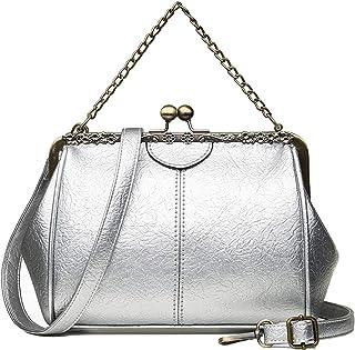 Women Small Retro Kiss Lock Handbag PU Leather Hollow Tote Purses Satchels Chain