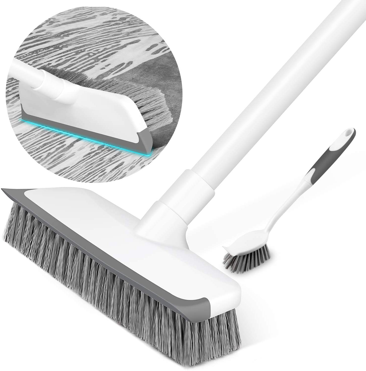 Floor Scrub Brush with Squeegee, Floor Brush Scrubber with Firm and Long  Handle, Shower Cleaning Brush for Bathroom, Patio, Kitchen, Wall and ...