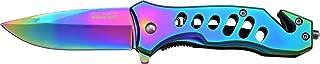 TAC Force TF-844 Spring Assist Folding Knife, Rainbow Straight Edge Blade, Rainbow Handle, 3.75-Inch Closed