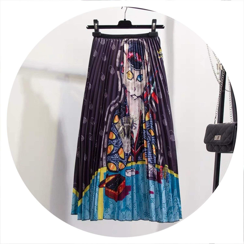 Brave pinkmary Printing Animal Pattern High Street European Style High Elastic MinCalf ALine Women Skirts