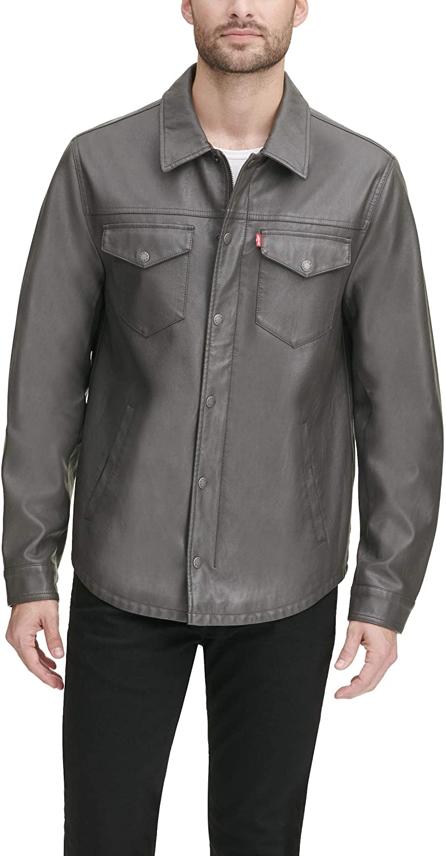 free Levi's OFFicial shop Men's Faux Jacket Leather Shirt