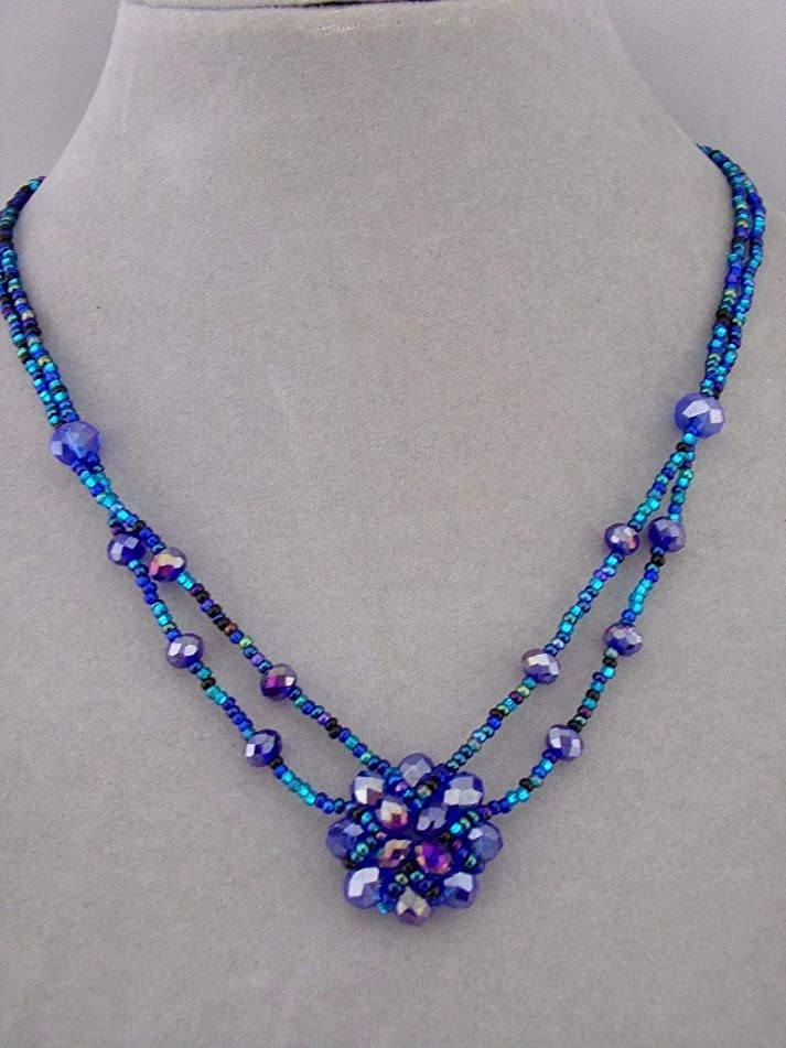 Blue Czech Glass Flower Necklace For Women Magnetic Clasp Handmade Fashion Jewelry NEW
