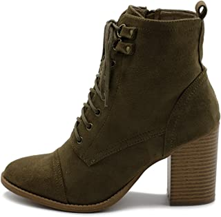 Women's Shoe Faux Suede Lace Up Stacked High Heel Ankle Boots SSB09