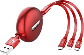 3in1 充電ケーブル-usbケーブル3in1-ライトニングケーブル 巻き取り-充電ケーブル- usbケーブル 3.5A大電流対応 USB Type-C/ライトニング/Micro USB/lightning同時給電120cm(赤)