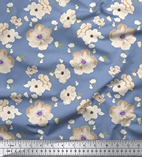 Soimoi 65 GSM Floral Printed 44 Inches Wide Georgette Designer Fabric by The Yard - Dusty Blue