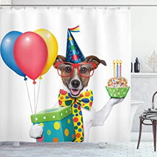 Ambesonne Birthday Party Shower Curtain, Waiter Server Party Dog with Hat Cone Cupcake Balloons Celebration Boxes, Cloth Fabric Bathroom Decor Set with Hooks, 70
