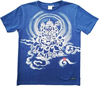 Tシャツ 麻生地 ガネーシャ イラスト前面 青 ヘンプ 半袖 和柄 仏画 日本画