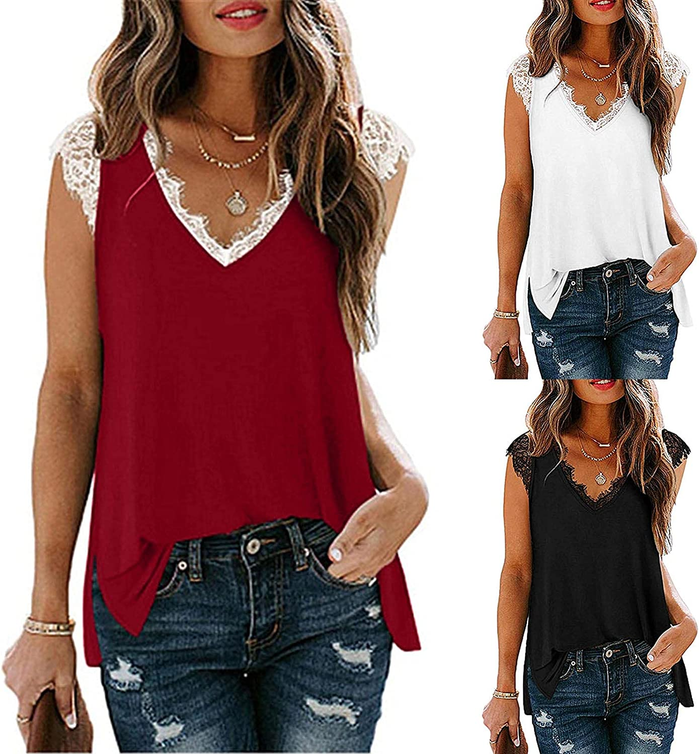 Top 1 year warranty for Direct sale of manufacturer Women Womens Fashion Lace V-Neck T-Shirt Ladi Splicting